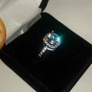 Real sterling silver 4ct cz diamond promise ring